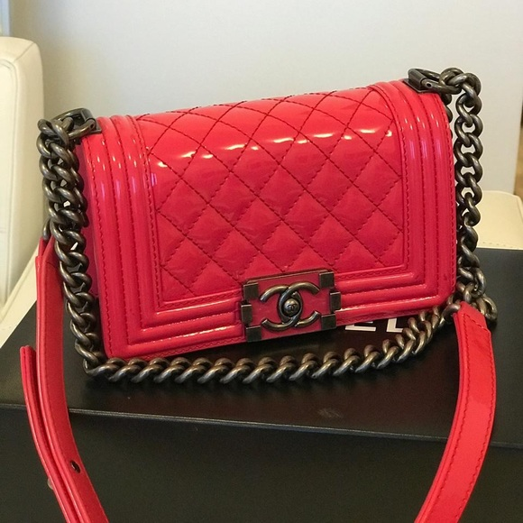 CHANEL Handbags - Chanel Patent Leather Small Le boy Bag